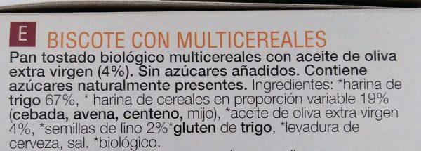 Ingredientes biscostes multicereales