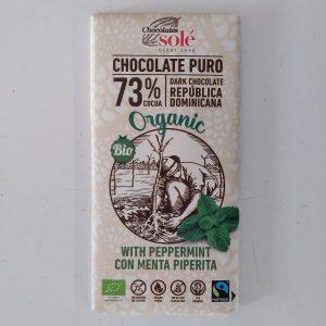 Tableta Chocolate puro al 73% y Menta Piperita